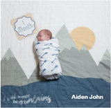 Personalized Baby's First Year Milestone Blanket & Card Set - I Will Move Mountains!