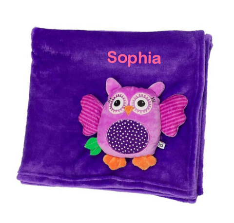 Personalized Plush Velour 3-D Owl Blanket