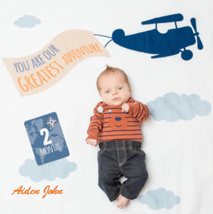 Personalized Baby's First Year Milestone Blanket & Card Set - Greatest Adventure!