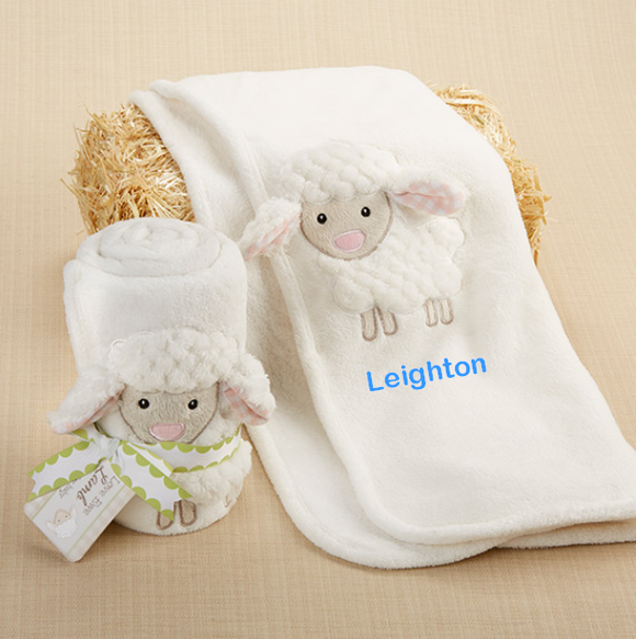 Personalized Plush Velour 3-D Lamb Blanket