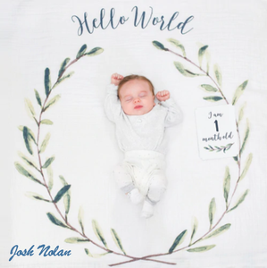 Personalized Baby's First Year Milestone Blanket & Card Set - Hello World Wreath!