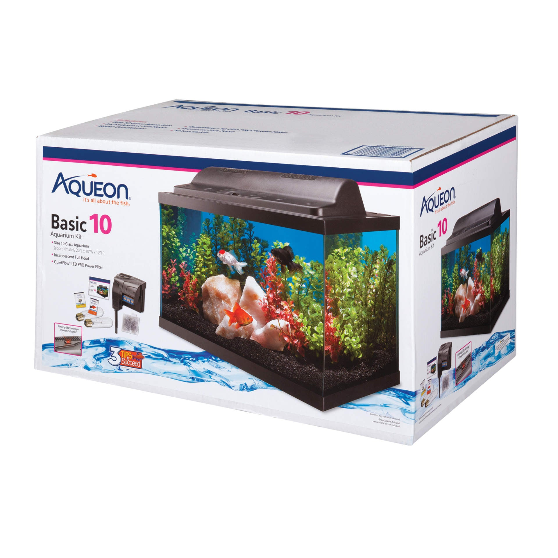 Aqueon 10 gallon Basic Aquarium Kit 20x10x12
