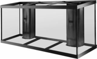 Aqueon 150 gallon aquarium 2 overflows black 72x18x29