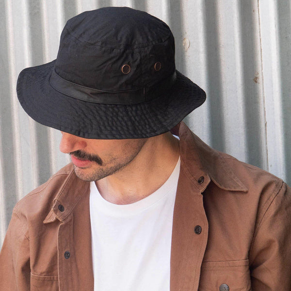 Buckleys Oilskin Bucket Hat in Black - Kakadu Traders Australia