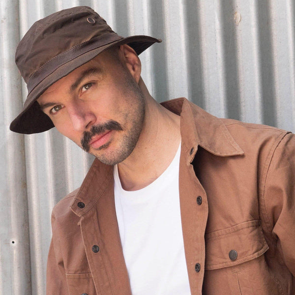 Buckleys Oilskin Bucket Hat in Brown - Kakadu Traders Australia