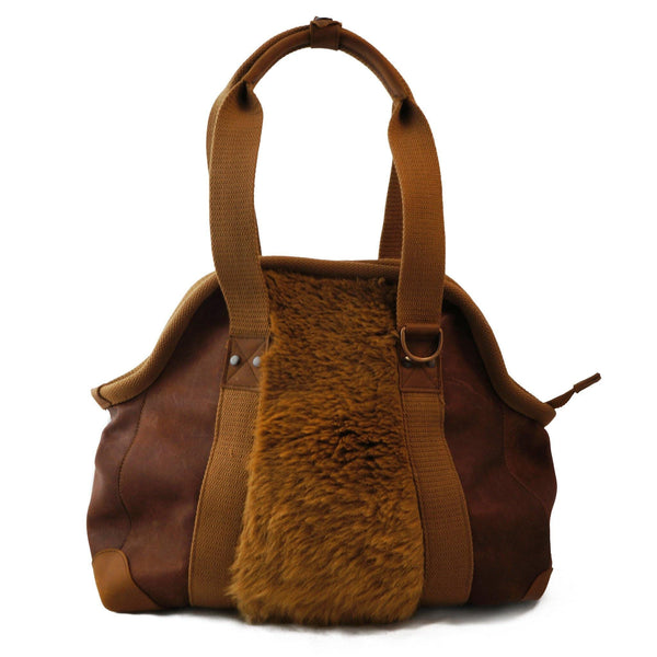 Kangaroo Fur Paneled Leather Doctors Bag
