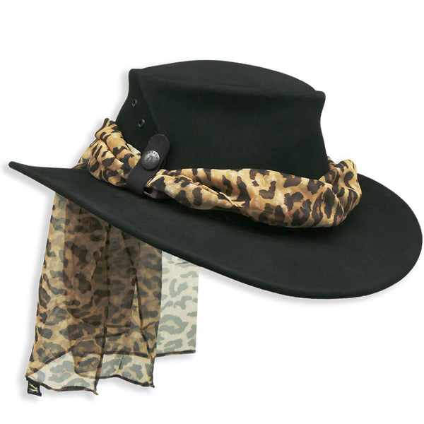 The Alice with Leopard Scarf in Black - Kakadu Traders Australia