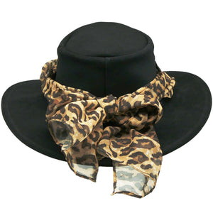 The Alice with Leopard Scarf In Black
