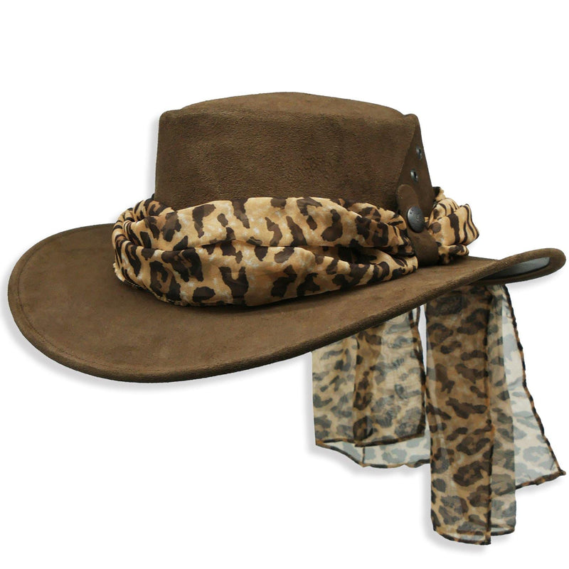 The Alice with Leopard Scarf in Dark Brown - Kakadu Traders Australia
