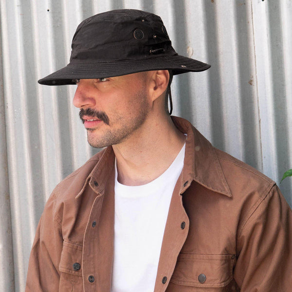 Dalston Oilskin Bucket Hat in Black - Kakadu Traders Australia