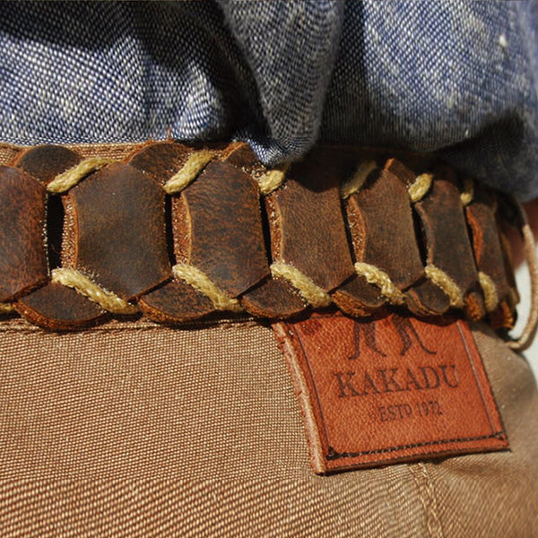 Dorrigo Hand Braided Belt In Tobacco - Kakadu Traders Australia