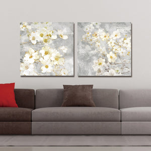 DYC 10059 2PCS White Flowers Print Art Ready to Hang Paintings