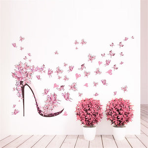 Pink Butterfly High Heels Wall Art Sticker Home Decoration Waterproof Removable Decals