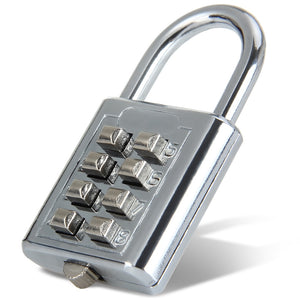 Durable Resettable 8 Numbers Combination Padlock Push-Button Coded Lock