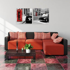 W141 Street Scenery Unframed Art Wall Canvas Prints for Home Decorations 2 PCS