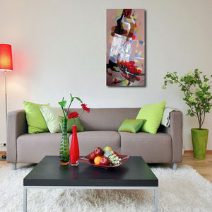 Happy Art Handed Top Grade Canvas Wine Glass Oil Painting Wall Art