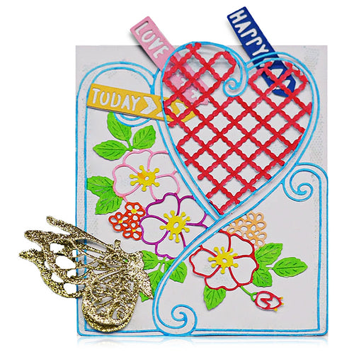 DIY Love Grid Flower Metal Stencil Cutting Die for Scrapbook Album Paper Craft