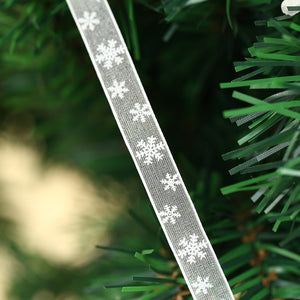 2m x 10mm / 25mm Winter Christmas Snowflake Craft Ribbon Xmas Tree Decoration