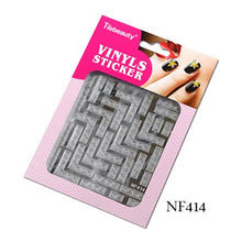 Load image into Gallery viewer, 1 Sheet New Stamping Nail Art 3D Hollow Sticker Laser Silver Vinyl Grid Pattern Template Stencil Guide Manicure BENF413-436S