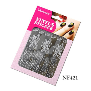1 Sheet New Stamping Nail Art 3D Hollow Sticker Laser Silver Vinyl Grid Pattern Template Stencil Guide Manicure BENF413-436S