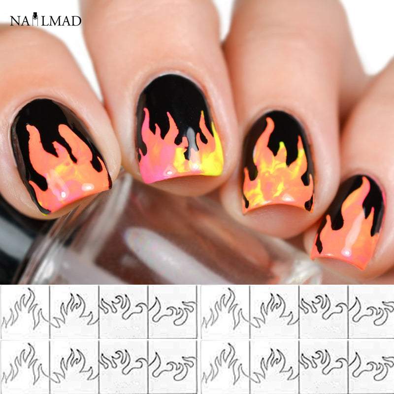 1 sheet Fire Nail Vinyls Stencil Hollow Stickers Fires on Manicure Stencil Stickers
