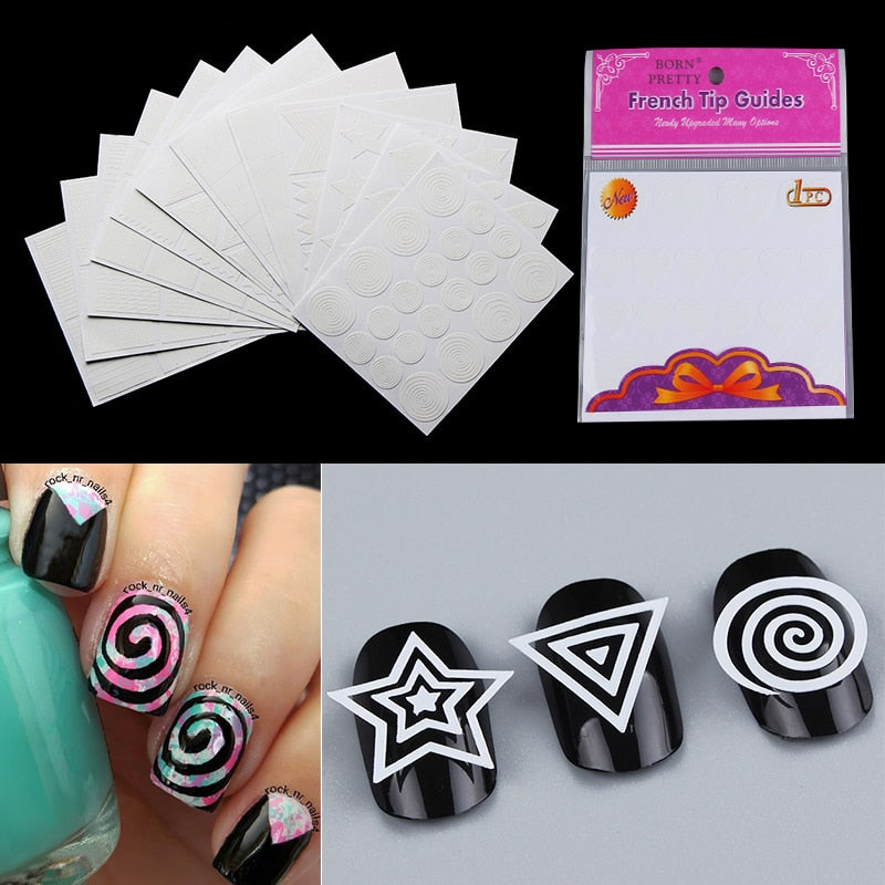 12 Sheets Geometry Nail Vinyls Nail Art Stencil Stickers Stripe Circle Stars Heart Manicure Tips Decoration