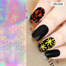 Load image into Gallery viewer, UR SUGAR 2 Patterns Adhesive Nail Vinyls Hollow Floral Watermarble Star Nail Art Stencil Transfer Stickers for Nail Polish Decor