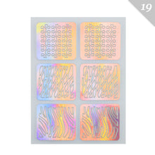 Load image into Gallery viewer, 3 Designs In 1 Sheet Laser Vinyls Nail Hollow Sticker Gold Grid Irregular Patterns Tips Tool For Nail Art Stencil Manicure SA350