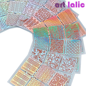 6/12/24 Sheets/set Nail Art Hollow Laser Sticker Stencil Gel Polish Nail Vinyl Tip Transfer Guide Template Nail Decals Kit
