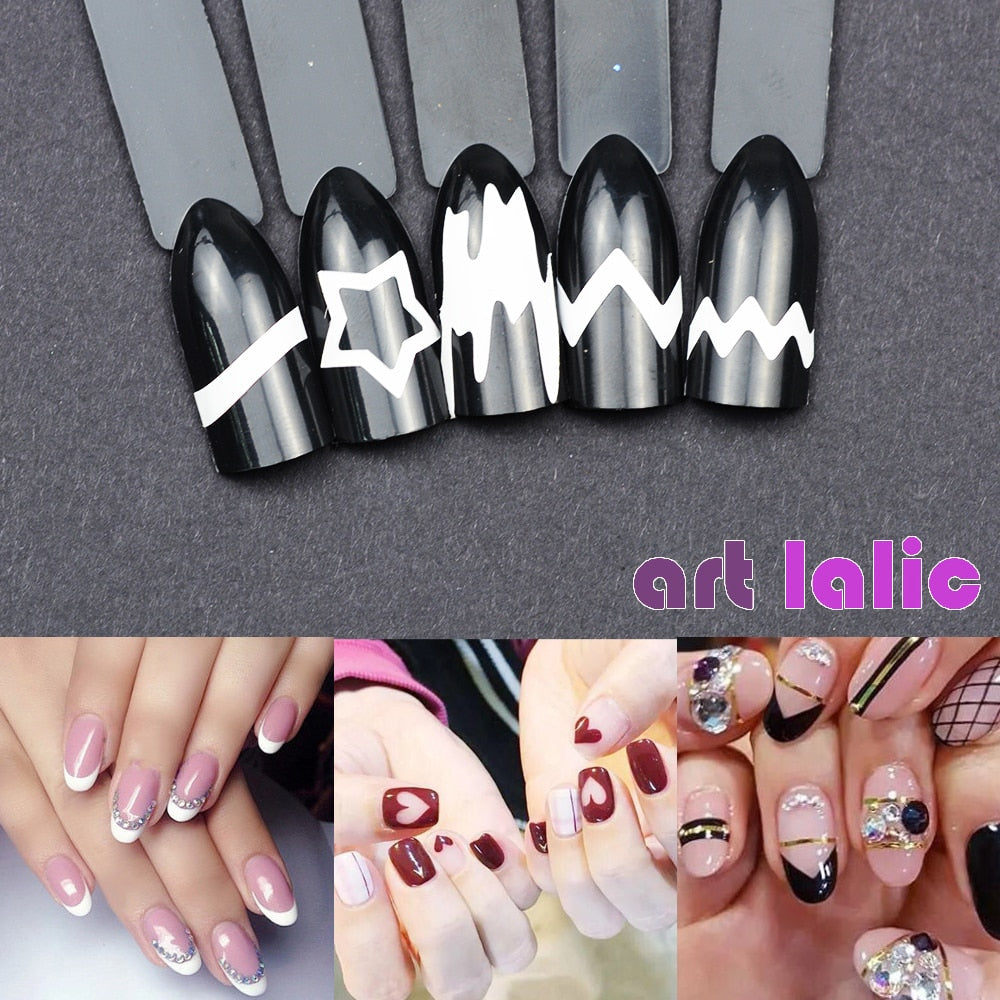 24pcs/set Nail Art Guide Tips Hollow Stencils Nail Stickers French Manicure Template 3D Vinyls Decals Form Styling Tool