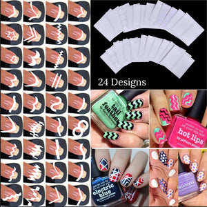 24pcs/set Nail Art Guide Tips Hollow Stencils Sticker French Manicure Template 3D Vinyls Decals Form Styling Tool