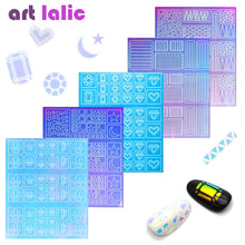 Load image into Gallery viewer, 2-Way Nail Art Hollow Laser Sticker Stencil Gel Polish Nail Vinyl Tip Transfer Guide Template Nail Decals Candy Color Stickers