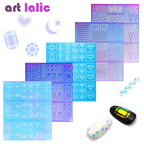 2-Way Nail Art Hollow Laser Sticker Stencil Gel Polish Nail Vinyl Tip Transfer Guide Template Nail Decals Candy Color Stickers