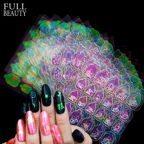 New 3D Nail Vinyls Sets DIY AB Chameleon Adhesive Charms Xmas  Sticker Nail Art Stencils Guide Manicure Decoration Tips CH626