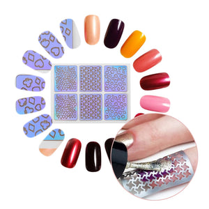 24 Sheet/sets DIY Nail Vinyls 24 different style Hollow Irregular Stencils Stamp Nail Art tool DIY Manicure Sticker Laser Silver