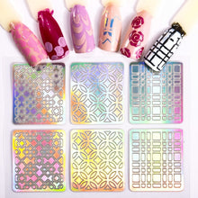 Load image into Gallery viewer, 24 Sheets/set Nail Art Hollow Laser Sticker Stencil Gel Polish Nail Vinyl Tip Transfer Guide Template Nail Decals Kit