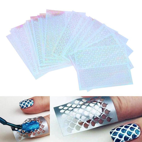 6 Sheets Nail Art Sticker DIY Nails Irregular Grid Stencil Reusable Nail Art Vinyls Hollow Stickers Stamping Template Nail Tools