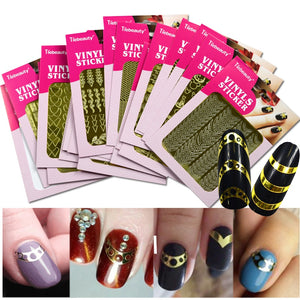 1Sheet Laser Irregular Hollow Nail Art Template Stencil 3D Sticker Vinyls Image Polish Design Guide Manicure Tool BENF413-436G