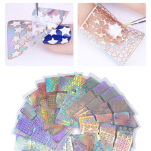 Load image into Gallery viewer, 12 Sheets Nail Vinyls Laser Hollow Stencil Stickers Transfer Guide Template Heart Star Fish Manicure Nail Art Decoration
