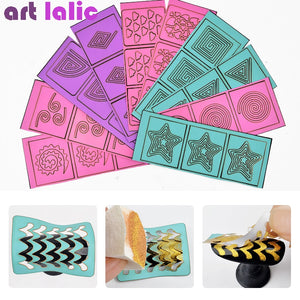 10 Sheets DIY Manicure Irregular Grid Stencil Reusable Nail Art Vinyls Hollow Stickers Stamping Template Polish Nail Tools