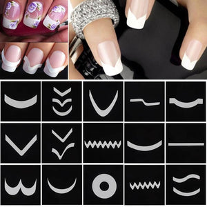 18 Sheets/Set French Style Nail Manicure Hollow Stencils Sticker DIY Nail Art Tips Guides Stencil Strip 3D Vinyls Decals Tools