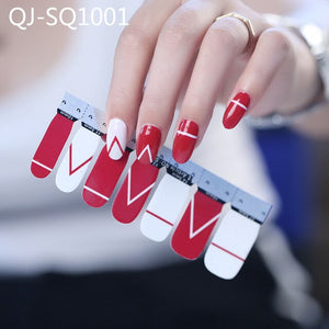 Mixed Design nail art stickers 14tips/sheet Spring Summer style full cover Nail Vinyls Decals Manicure Stickers nail wraps BZ054