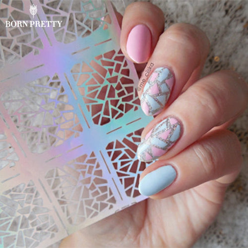 1 Sheet Irregular Pattern Nail Vinyls Rose Manicure Nail Art Stencil Stickers 12 Tips/Sheet