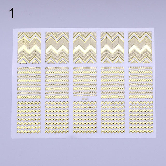 Gold 3D Nail Sticker Irregular Grid Geometric Pattern Stripes Wave Heart Star Nail Art Vinyls Transfer Stickers