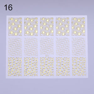3D Nail Art Sticker Vinyls Geometric Pattern Heart Star Stripes Wave Adhesive Transfer Stickers Gold