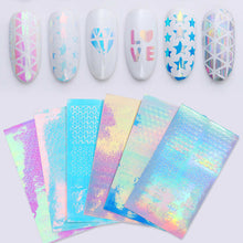 Load image into Gallery viewer, Holographic Laser Hollow Stencil Stickers Nail Vinyls Transfer Tips Guide Template Heart  Star Design Nail Art Decoration