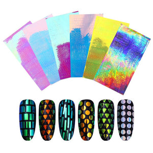Holographic Laser Hollow Stencil Stickers Nail Vinyls Transfer Tips Guide Template Heart  Star Design Nail Art Decoration