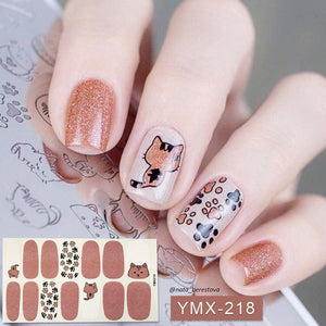 14tips/sheet Beauty Nail Art Stickers Full Cover Sticker Wraps Decorations DIY Manicure Slider Nail Vinyls Adhesive Nails Decals