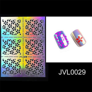 Mtssii Hollow Laser Nail Art Sticker Stencil Set Gel Polish Nail Vinyl Tip Transfer Guide Template Nail Decals Stickers 1 Sheet