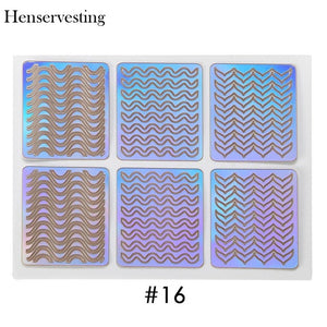 24 Type Hollow Laser Nail Art Sticker Stencil Set Gel Polish Nail Vinyl Tip Transfer Guide Template Nail Decals Stickers
